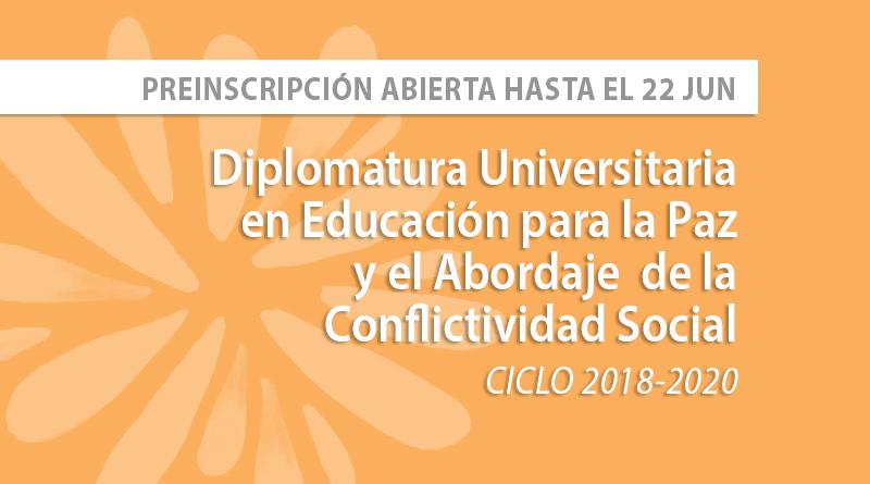 ABIERTA LA  PREINSCRIPCIÓN: Diplomatura en Educación para la Paz